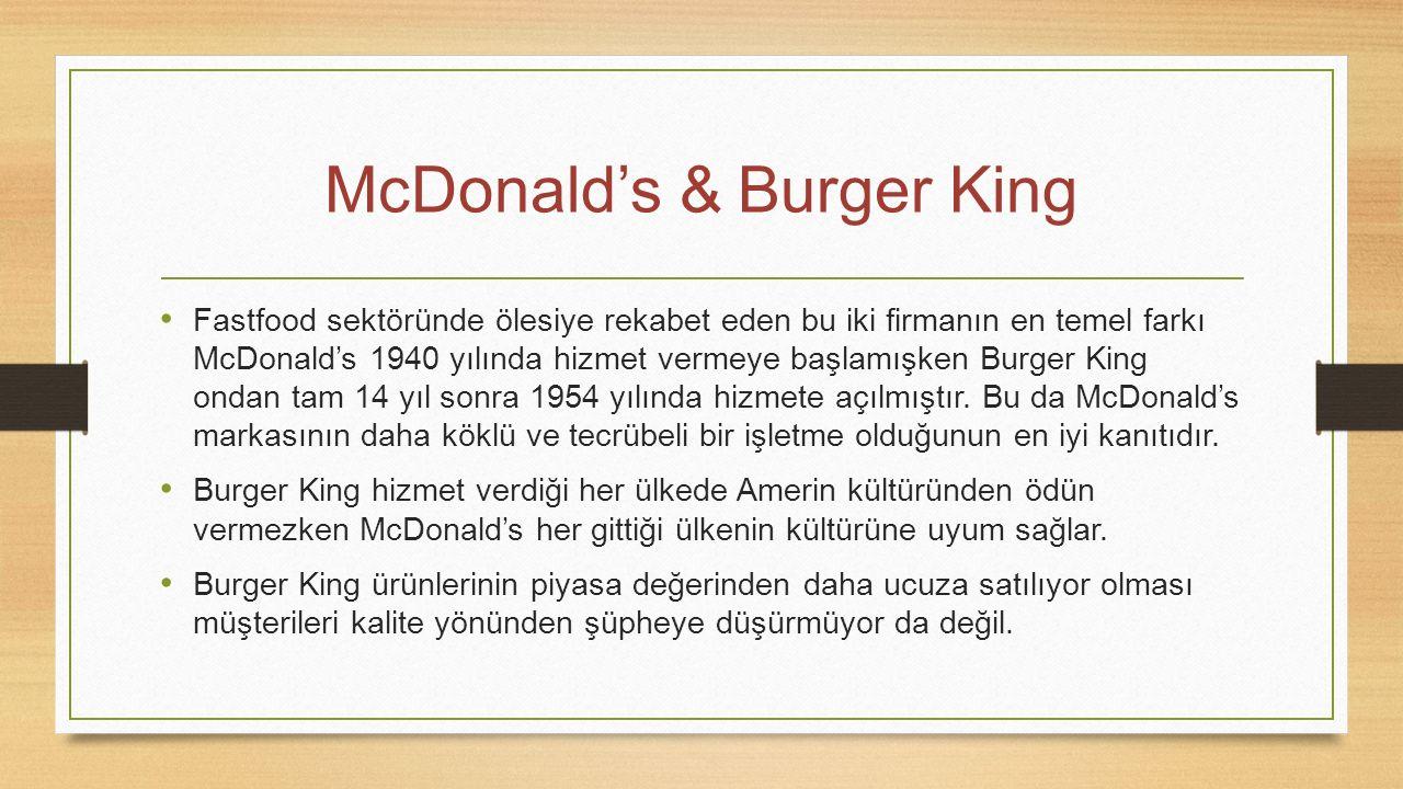 McDonald's & Burger King Fastfood sektöründe ölesiye rekabet eden bu iki firmanın en temel farkı McDonald's 1940 yılında hizmet vermeye başlamışken Bu