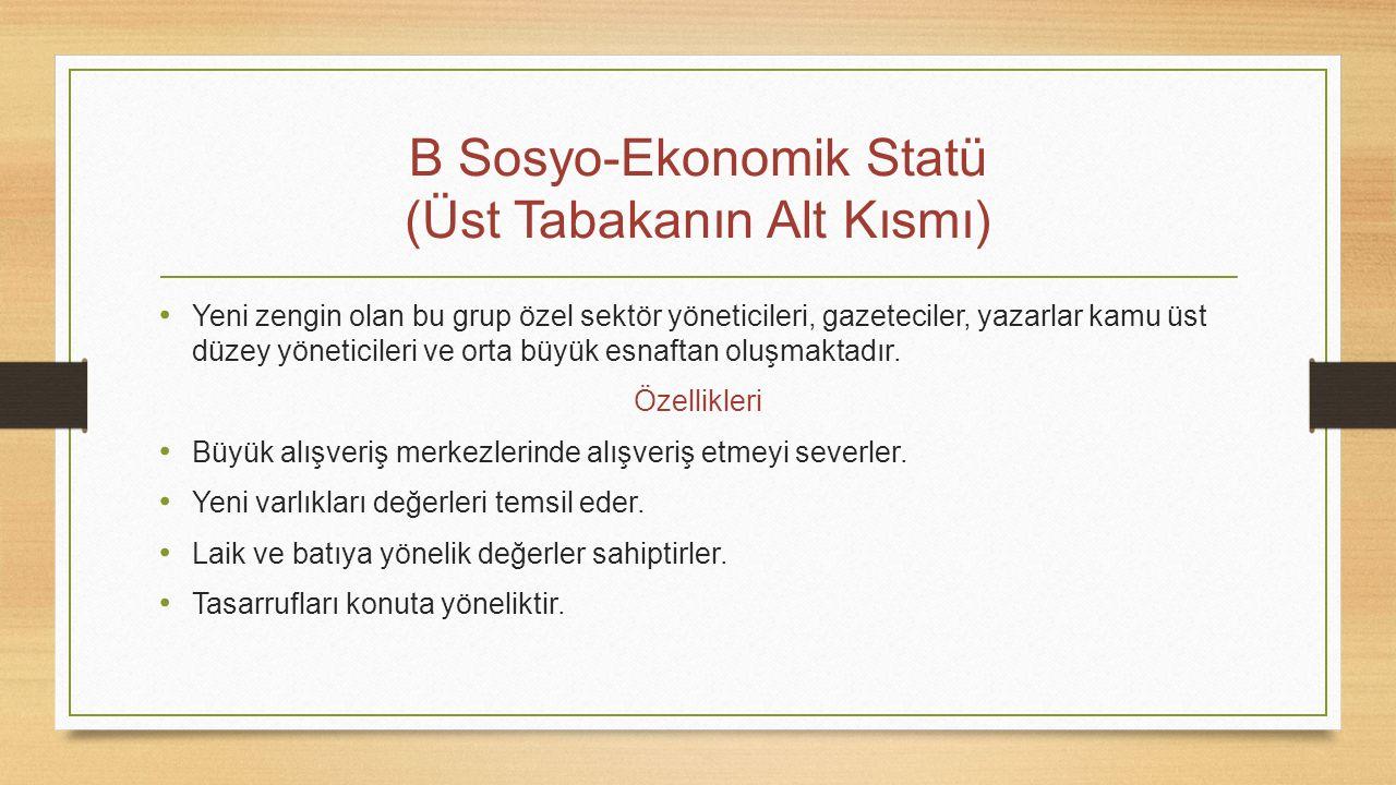 B Sosyo-Ekonomik Statü (Üst Tabakanın Alt Kısmı) Yeni zengin olan bu grup özel sektör yöneticileri, gazeteciler, yazarlar kamu üst düzey yöneticileri