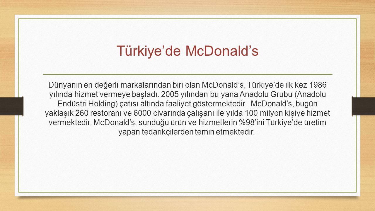 Türkiye'de McDonald's Dünyanın en değerli markalarından biri olan McDonald's, Türkiye'de ilk kez 1986 yılında hizmet vermeye başladı. 2005 yılından bu