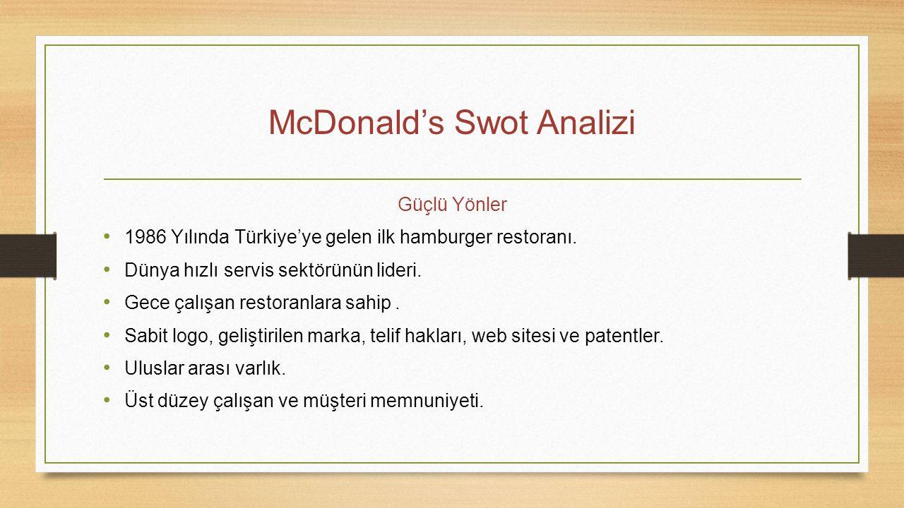 McDonald's Swot Analizi Güçlü Yönler 1986 Yılında Türkiye'ye gelen ilk hamburger restoranı. Dünya hızlı servis sektörünün lideri. Gece çalışan restora