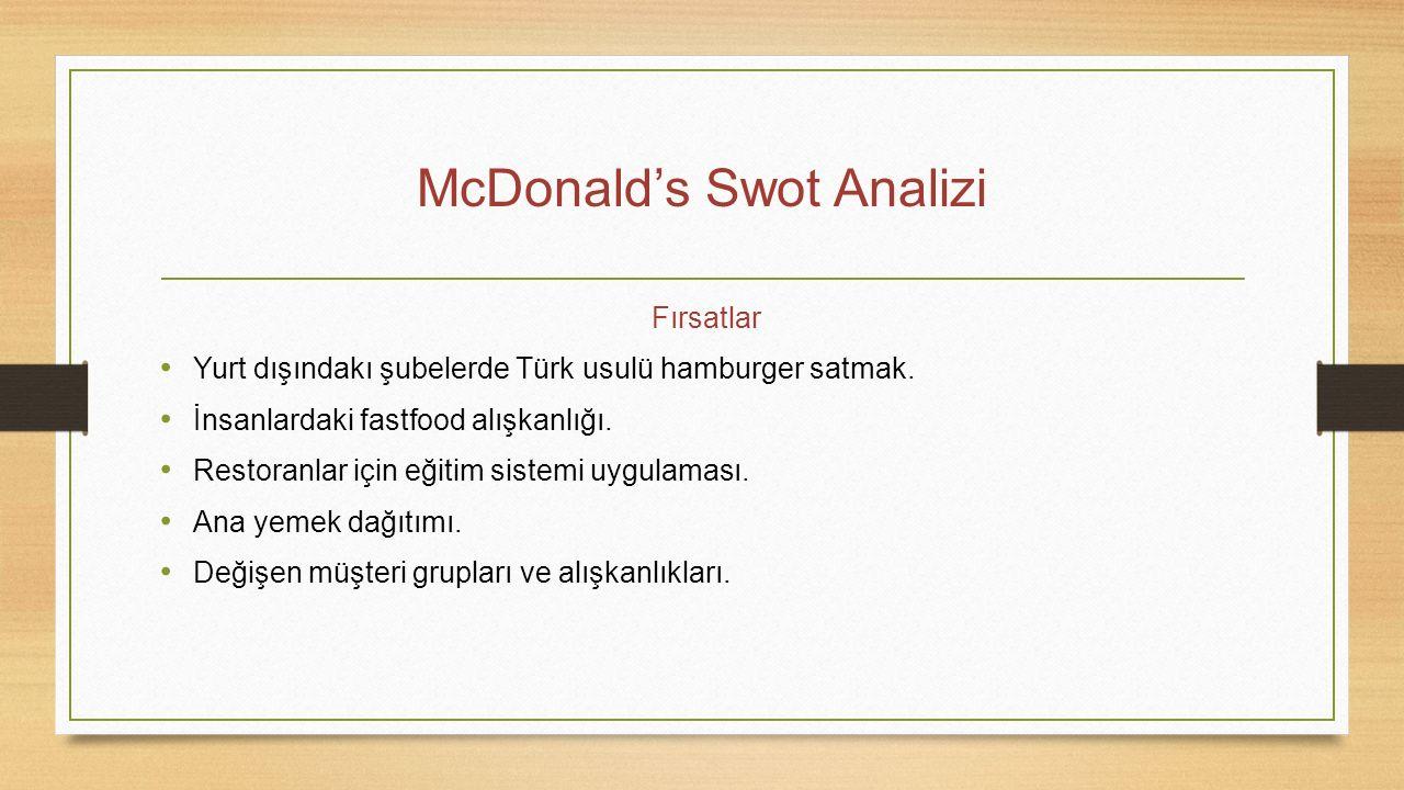 McDonald's Swot Analizi Fırsatlar Yurt dışındakı şubelerde Türk usulü hamburger satmak. İnsanlardaki fastfood alışkanlığı. Restoranlar için eğitim sis