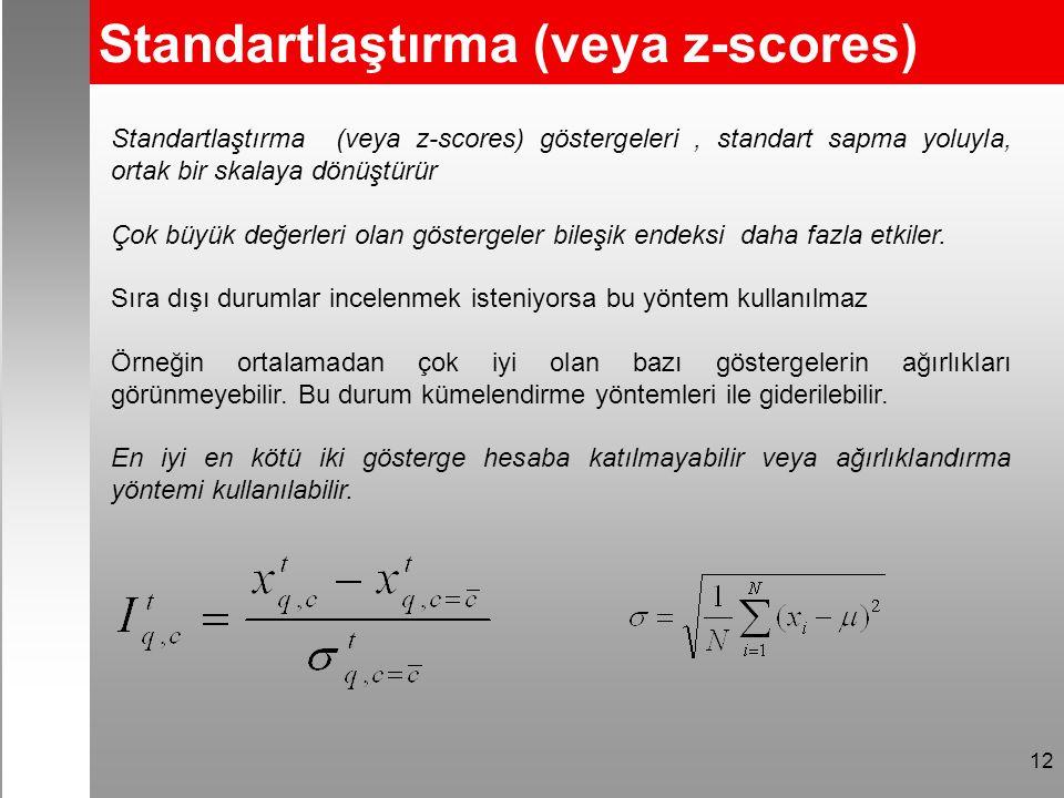 Standartlaştırma (veya z-scores) 12 Standartlaştırma (veya z-scores) göstergeleri, standart sapma yoluyla, ortak bir skalaya dönüştürür Çok büyük değerleri olan göstergeler bileşik endeksi daha fazla etkiler.