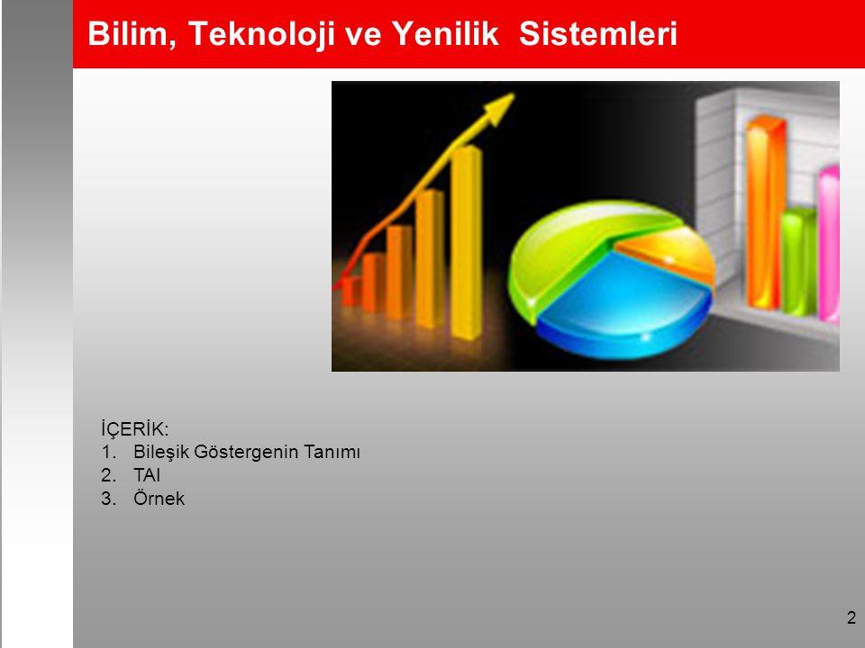 2 Bilim, Teknoloji ve Yenilik Sistemleri İÇERİK: 1.Bileşik Göstergenin Tanımı 2.TAI 3.Örnek