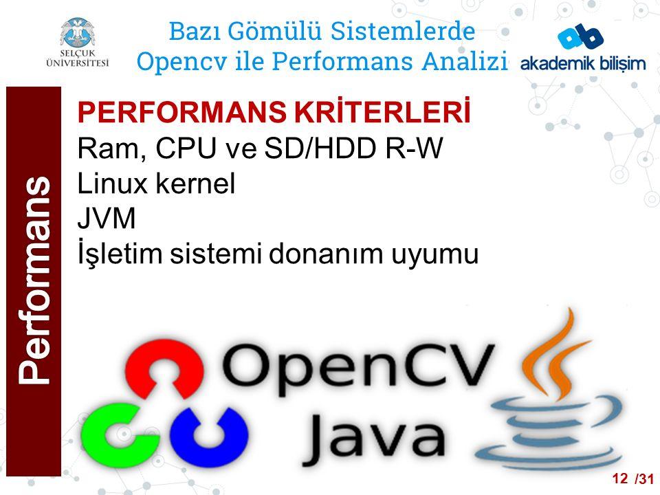 /24 Bazı Gömülü Sistemlerde Opencv ile Performans Analizi PERFORMANS KRİTERLERİ Ram, CPU ve SD/HDD R-W Linux kernel JVM İşletim sistemi donanım uyumu 12