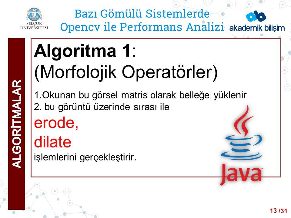 /24 Bazı Gömülü Sistemlerde Opencv ile Performans Analizi Algoritma 1: (Morfolojik Operatörler) 1.Okunan bu görsel matris olarak belleğe yüklenir 2.