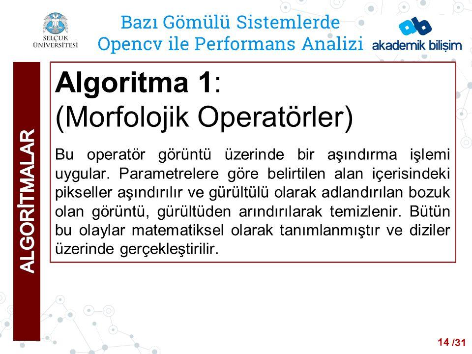 /24 Bazı Gömülü Sistemlerde Opencv ile Performans Analizi Algoritma 1: (Morfolojik Operatörler) Bu operatör görüntü üzerinde bir aşındırma işlemi uygular.