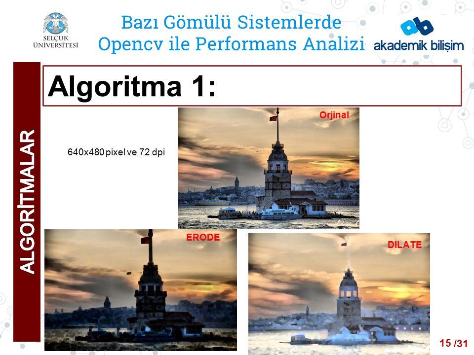/24 Bazı Gömülü Sistemlerde Opencv ile Performans Analizi Algoritma 1: ERODE DILATE 15 Orjinal 640x480 pixel ve 72 dpi