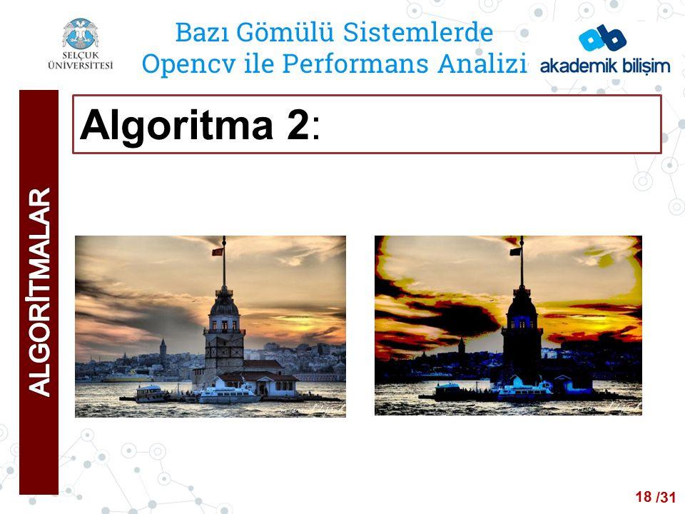 /24 Bazı Gömülü Sistemlerde Opencv ile Performans Analizi Algoritma 2: 18