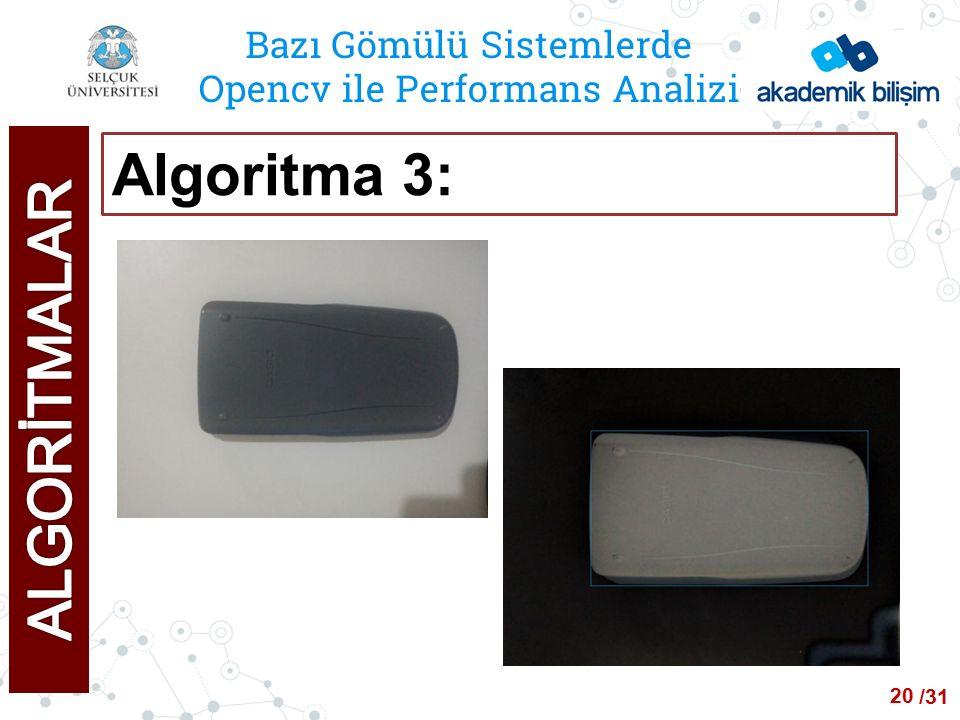 /24 Bazı Gömülü Sistemlerde Opencv ile Performans Analizi Algoritma 3: 20