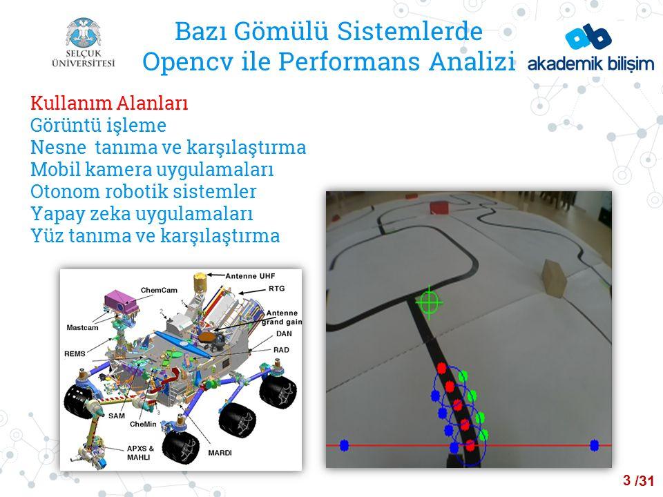 /24 Bazı Gömülü Sistemlerde Opencv ile Performans Analizi Kullanım Alanları Görüntü işleme Nesne tanıma ve karşılaştırma Mobil kamera uygulamaları Otonom robotik sistemler Yapay zeka uygulamaları Yüz tanıma ve karşılaştırma 3