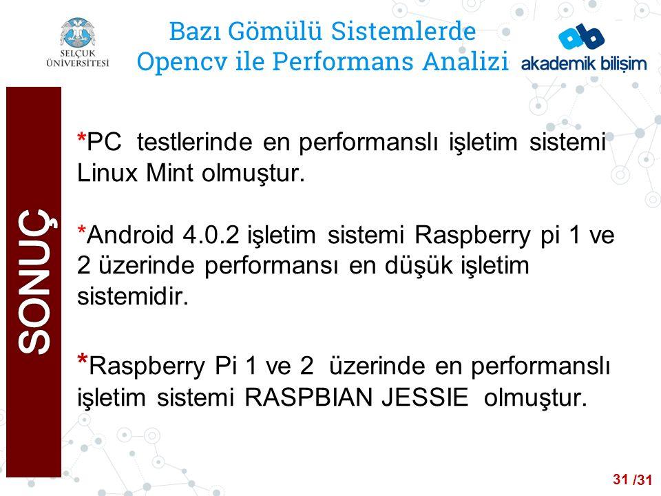 /24 Bazı Gömülü Sistemlerde Opencv ile Performans Analizi *PC testlerinde en performanslı işletim sistemi Linux Mint olmuştur.