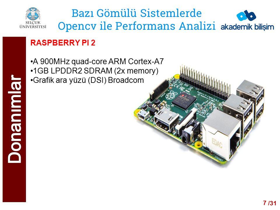 /24 Bazı Gömülü Sistemlerde Opencv ile Performans Analizi RASPBERRY PI 1 MODEL B CPU 700 MHz ARM1176JZF-S RAM 512 MB Grafik ara yüzü Broadcom VideoCore IV 8