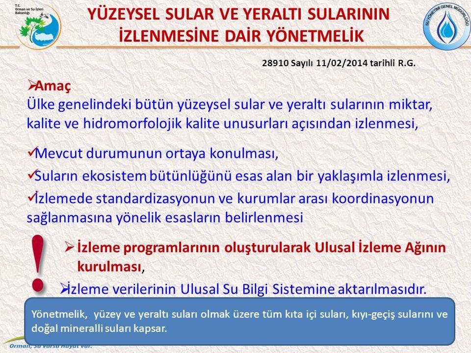 YÜZEYSEL SULAR VE YERALTI SULARININ İZLENMESİNE DAİR YÖNETMELİK 28910 Sayılı 11/02/2014 tarihli R.G.