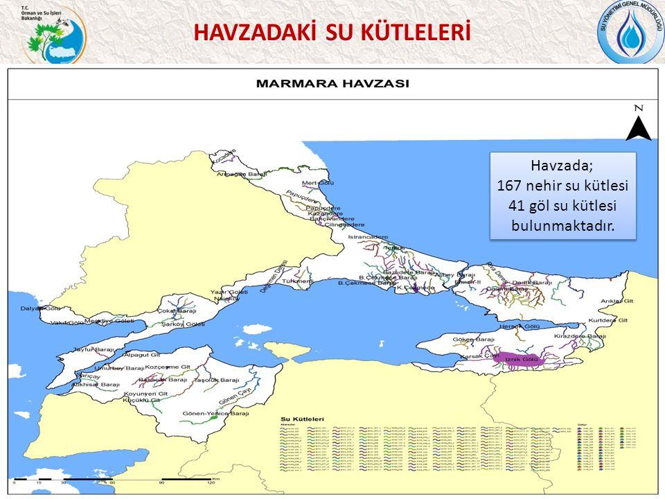 HAVZADAKİ SU KÜTLELERİ 37 Havzada; 167 nehir su kütlesi 41 göl su kütlesi bulunmaktadır.