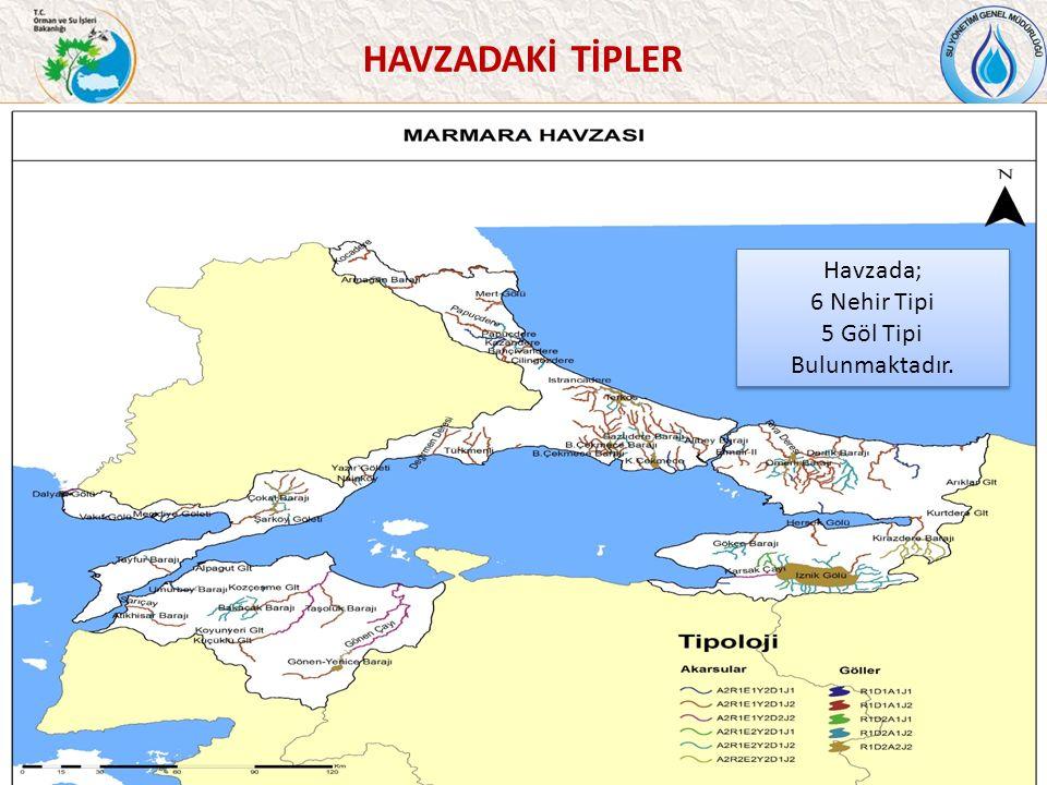 HAVZADAKİ TİPLER 38 Havzada; 6 Nehir Tipi 5 Göl Tipi Bulunmaktadır.