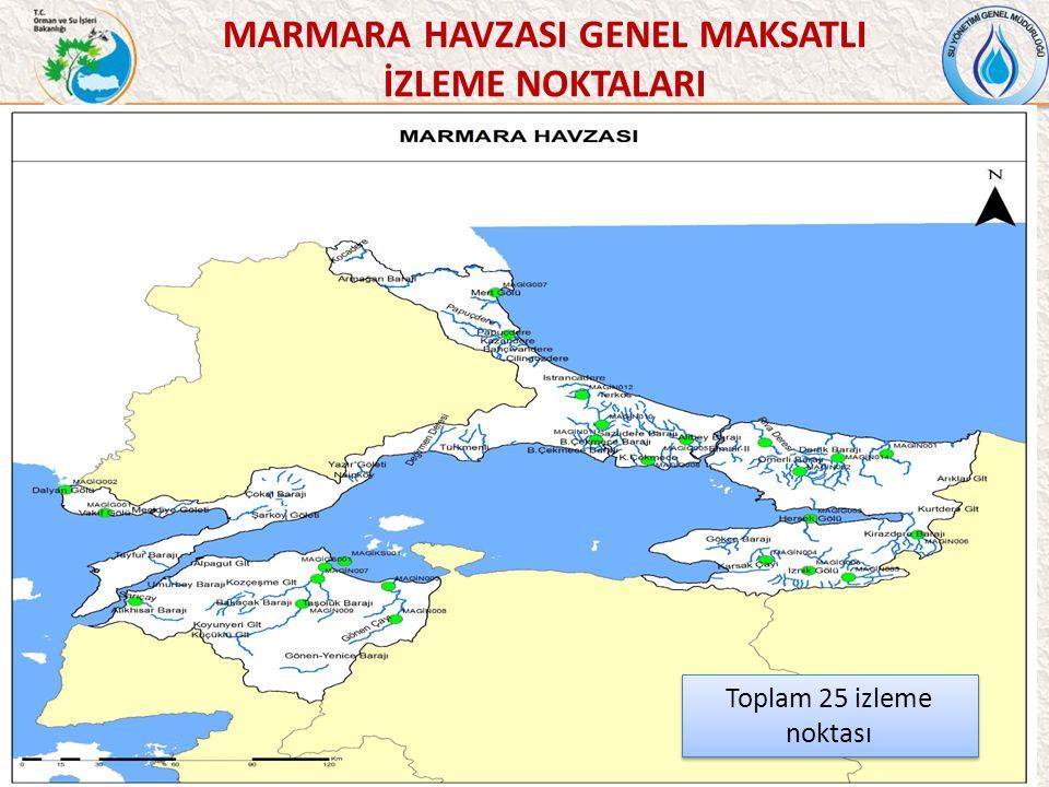 42 MARMARA HAVZASI GENEL MAKSATLI İZLEME NOKTALARI Toplam 25 izleme noktası