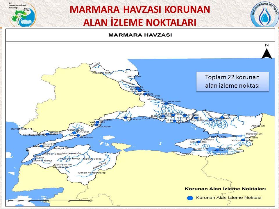 49 MARMARA HAVZASI KORUNAN ALAN İZLEME NOKTALARI Toplam 22 korunan alan izleme noktası