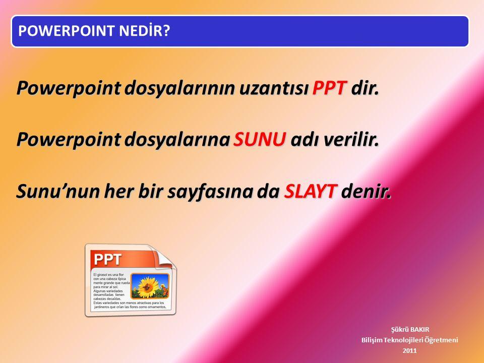 Powerpoint dosyalarının uzantısı PPT dir.Powerpoint dosyalarına SUNU adı verilir.