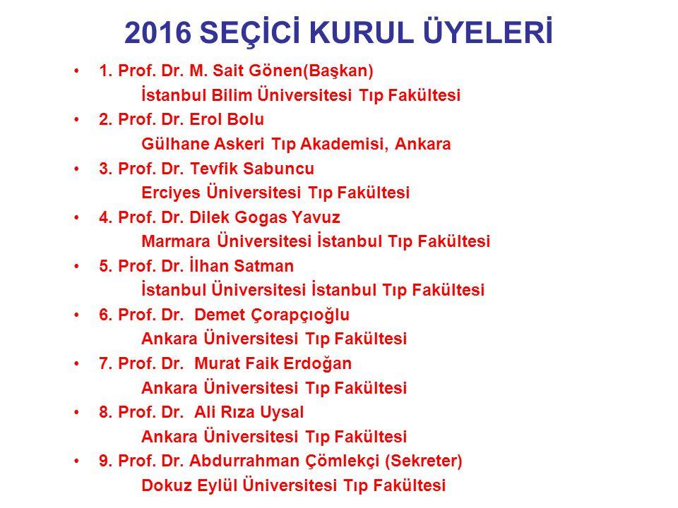 2016 SEÇİCİ KURUL ÜYELERİ 1. Prof. Dr. M.