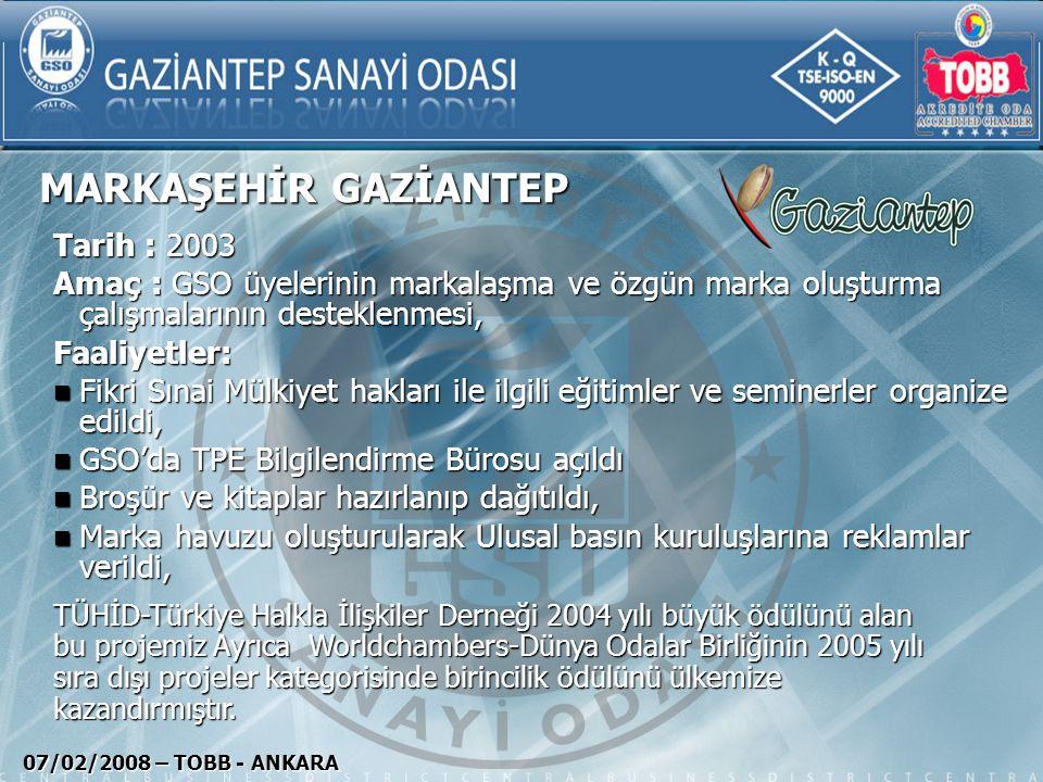 MARKAŞEHİR GAZİANTEP 07/02/2008 – TOBB - ANKARA Tarih : 2003 Amaç : GSO üyelerinin markalaşma ve özgün marka oluşturma çalışmalarının desteklenmesi, F