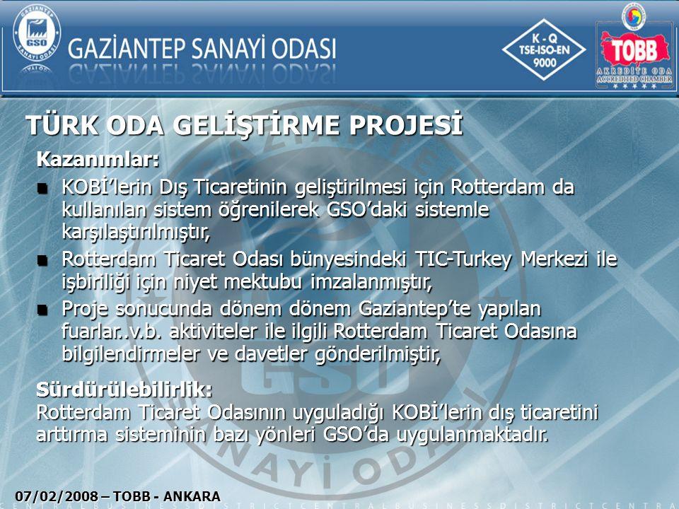 TÜRK ODA GELİŞTİRME PROJESİ 07/02/2008 – TOBB - ANKARA Kazanımlar: KOBİ'lerin Dış Ticaretinin geliştirilmesi için Rotterdam da kullanılan sistem öğren