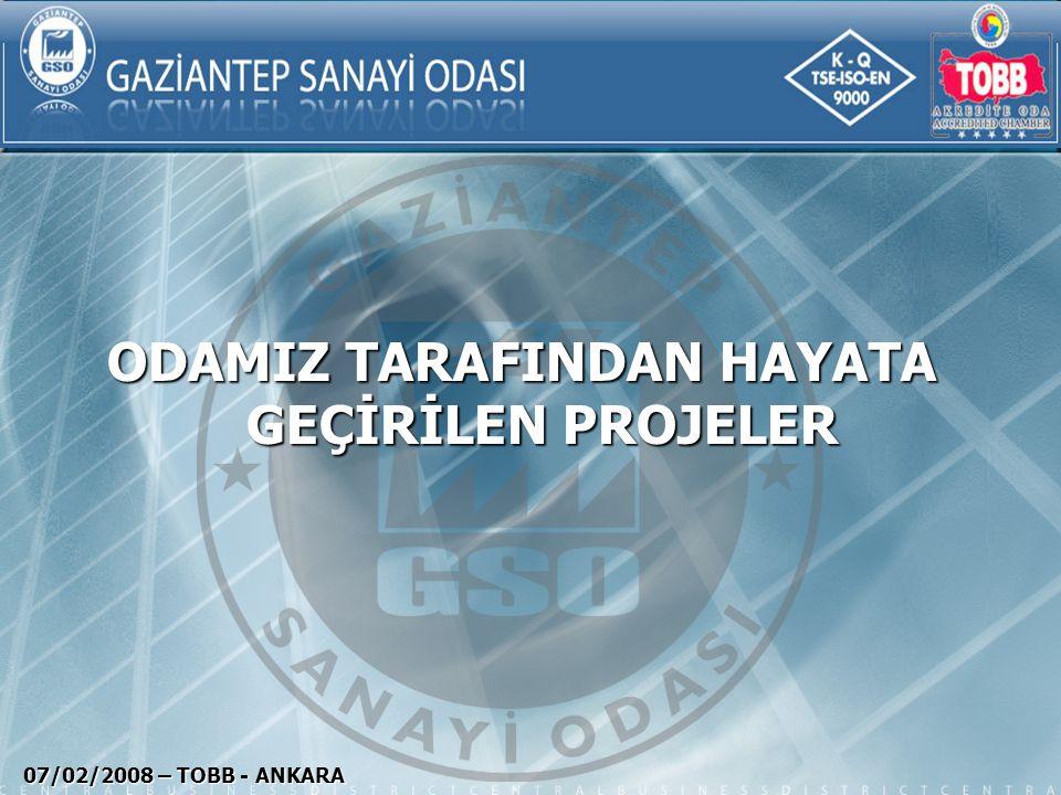 GTZ PROJESİ 07/02/2008 – TOBB - ANKARA Tarih : 1995 -1999 Amaç : GTZ (Türk Alman Mesleki İş Birliği) projesi ile Odaların uluslararası standartlarda hizmet kalitesinin artırılması, re-organizasyonunun sağlanması.