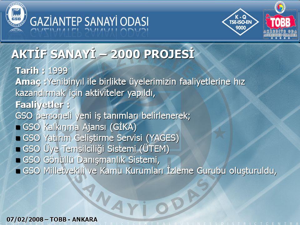 MARKAŞEHİR GAZİANTEP 07/02/2008 – TOBB - ANKARA Tarih : 2003 Amaç : GSO üyelerinin markalaşma ve özgün marka oluşturma çalışmalarının desteklenmesi, Faaliyetler: Fikri Sınai Mülkiyet hakları ile ilgili eğitimler ve seminerler organize edildi, Fikri Sınai Mülkiyet hakları ile ilgili eğitimler ve seminerler organize edildi, GSO'da TPE Bilgilendirme Bürosu açıldı GSO'da TPE Bilgilendirme Bürosu açıldı Broşür ve kitaplar hazırlanıp dağıtıldı, Broşür ve kitaplar hazırlanıp dağıtıldı, Marka havuzu oluşturularak Ulusal basın kuruluşlarına reklamlar verildi, Marka havuzu oluşturularak Ulusal basın kuruluşlarına reklamlar verildi, TÜHİD-Türkiye Halkla İlişkiler Derneği 2004 yılı büyük ödülünü alan bu projemiz Ayrıca Worldchambers-Dünya Odalar Birliğinin 2005 yılı sıra dışı projeler kategorisinde birincilik ödülünü ülkemize kazandırmıştır.