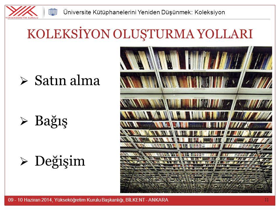 11 09 - 10 Haziran 2014, Yükseköğretim Kurulu Başkanlığı, BİLKENT - ANKARA Üniversite Kütüphanelerini Yeniden Düşünmek: Koleksiyon KOLEKSİYON OLUŞTURMA YOLLARI  Satın alma  Bağış  Değişim