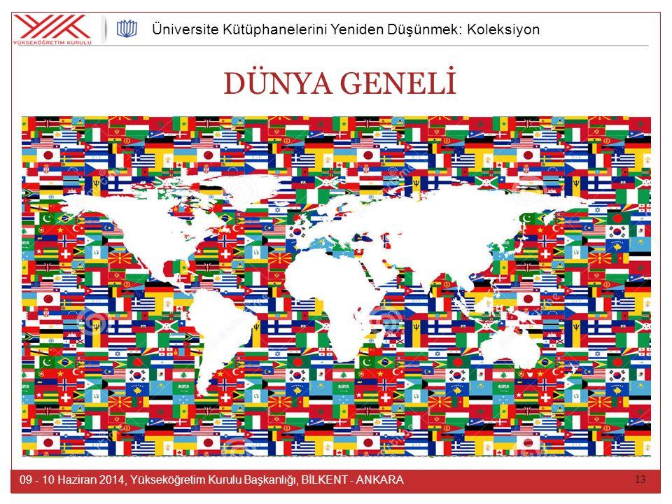 13 09 - 10 Haziran 2014, Yükseköğretim Kurulu Başkanlığı, BİLKENT - ANKARA Üniversite Kütüphanelerini Yeniden Düşünmek: Koleksiyon DÜNYA GENELİ