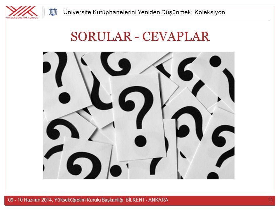 25 09 - 10 Haziran 2014, Yükseköğretim Kurulu Başkanlığı, BİLKENT - ANKARA Üniversite Kütüphanelerini Yeniden Düşünmek: Koleksiyon SORULAR - CEVAPLAR