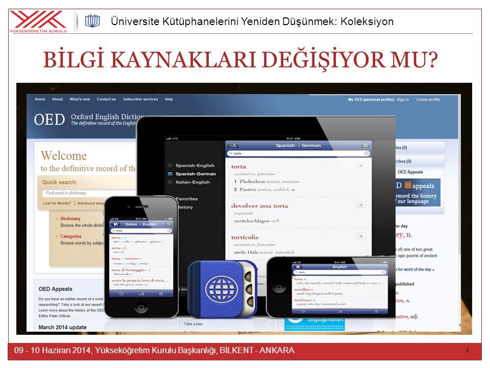 4 09 - 10 Haziran 2014, Yükseköğretim Kurulu Başkanlığı, BİLKENT - ANKARA Üniversite Kütüphanelerini Yeniden Düşünmek: Koleksiyon BİLGİ KAYNAKLARI DEĞİŞİYOR MU