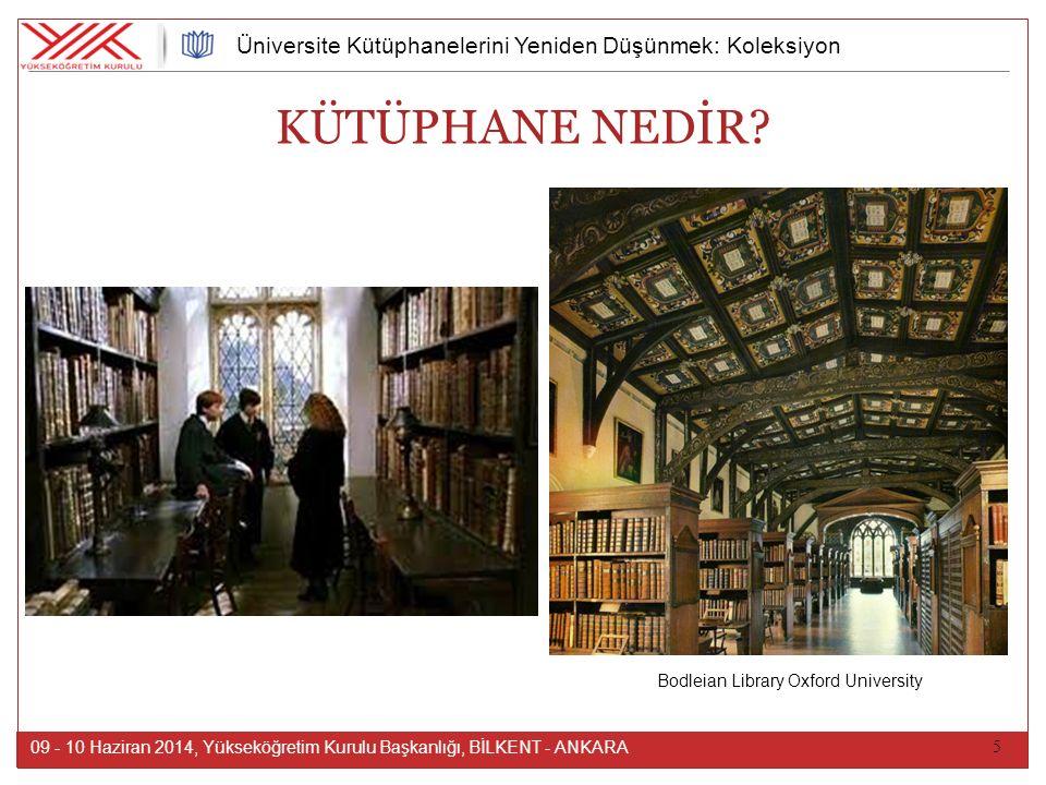5 09 - 10 Haziran 2014, Yükseköğretim Kurulu Başkanlığı, BİLKENT - ANKARA Üniversite Kütüphanelerini Yeniden Düşünmek: Koleksiyon Kütüphane, belli bir sisteme göre düzenlenen kitap ve kitap dışı bilgi kaynaklarının toplandığı, saklandığı, okuyucu ve araştırmacıların hizmetine sunulduğu yer.