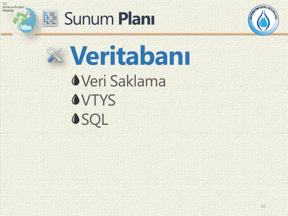 Sunum Planı 16 Veritabanı Veri Saklama VTYS SQL