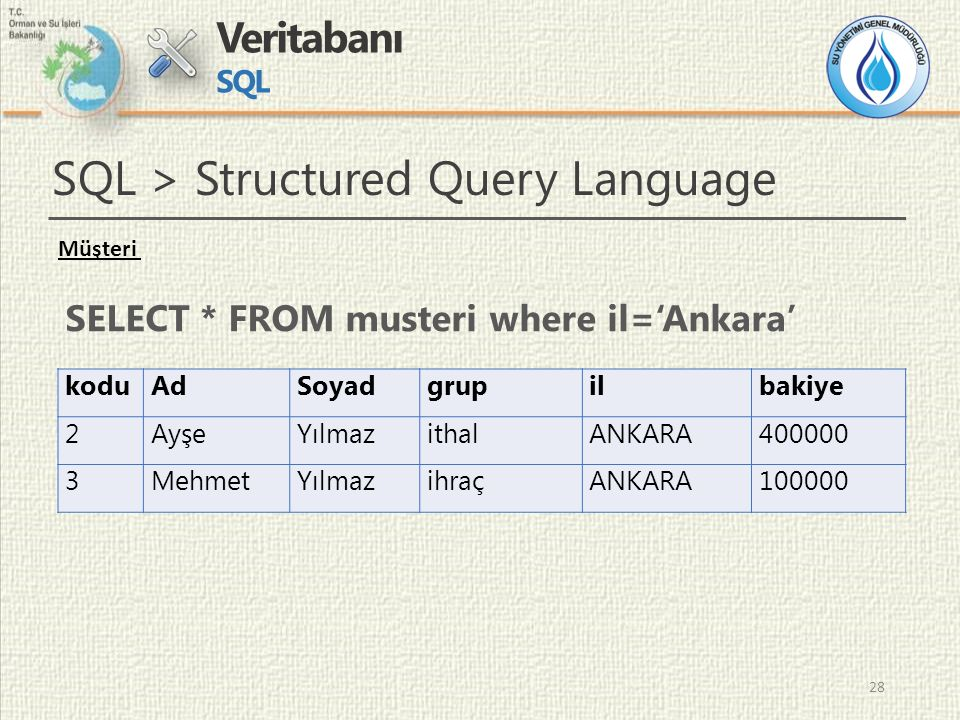 29 Veritabanı SQL SQL > Structured Query Language DELETE * FROM musteri WHERE bakiye <=1000 UPDATE Musteri SET bakiye=bakiye*1.1; CRUD > Create Read Update Delete