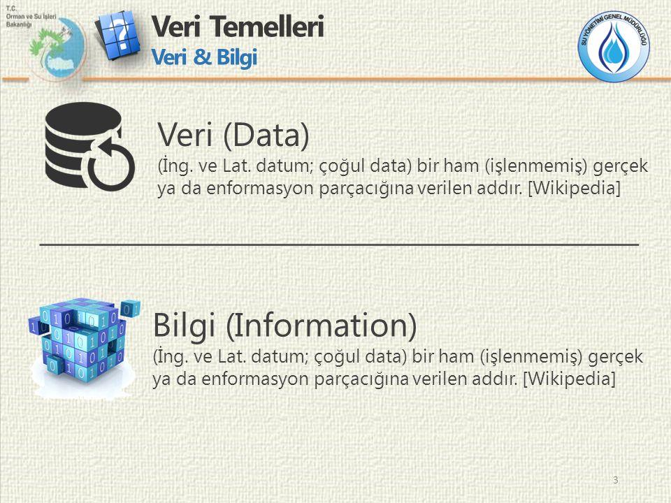3 Veri Temelleri Veri & Bilgi 3 Veri (Data) (İng. ve Lat.