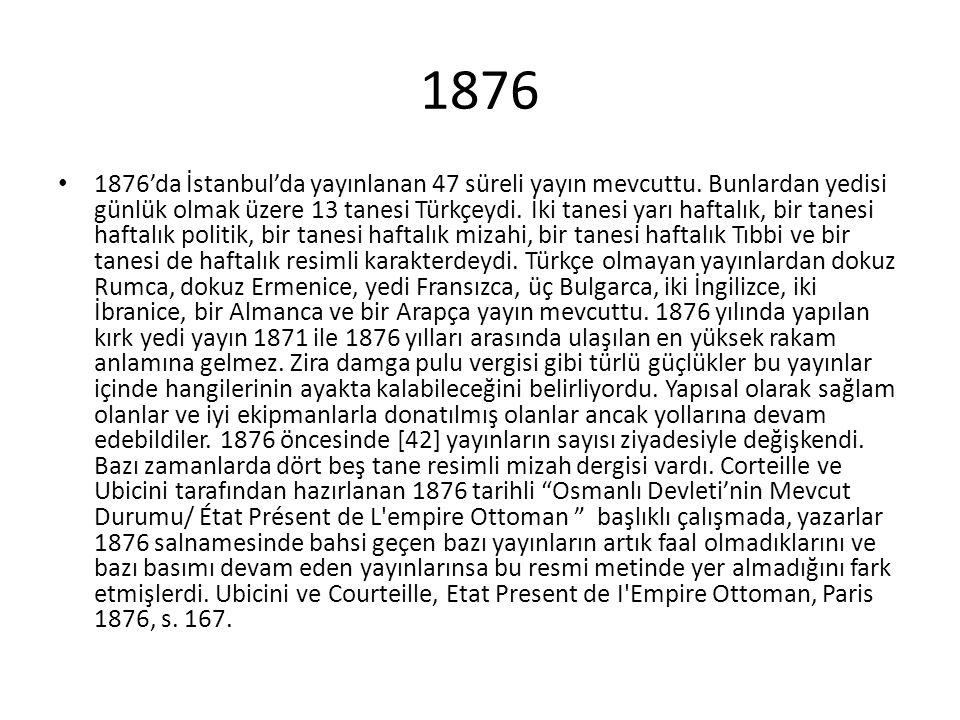 1876 1876'da İstanbul'da yayınlanan 47 süreli yayın mevcuttu. Bunlardan yedisi günlük olmak üzere 13 tanesi Türkçeydi. İki tanesi yarı haftalık, bir t