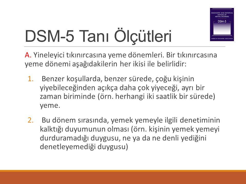 DSM-5 Tanı Ölçütleri A. Yineleyici tıkınırcasına yeme dönemleri. Bir tıkınırcasına yeme dönemi aşağıdakilerin her ikisi ile belirlidir: 1. Benzer koşu