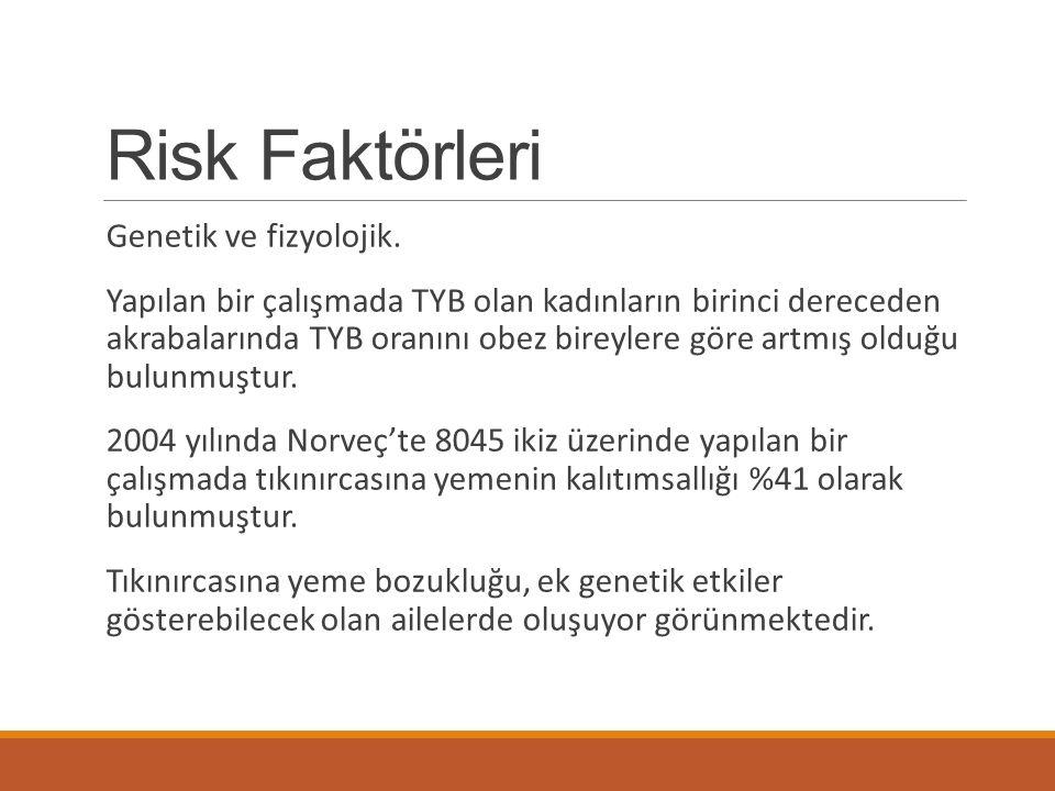 Risk Faktörleri Genetik ve fizyolojik. Yapılan bir çalışmada TYB olan kadınların birinci dereceden akrabalarında TYB oranını obez bireylere göre artmı