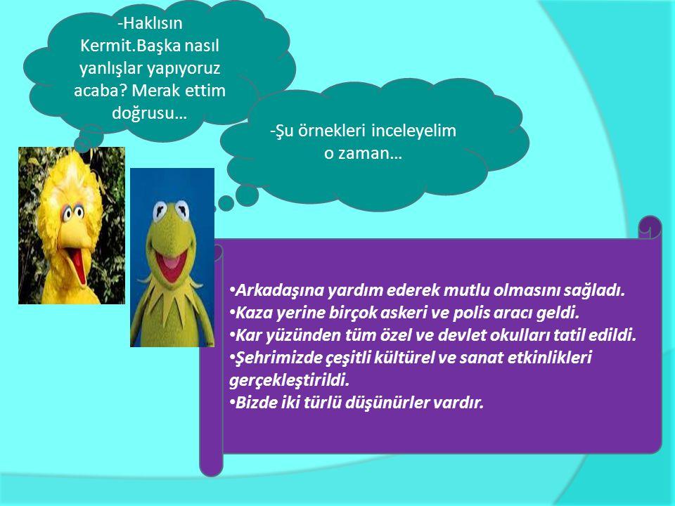 -Kermit, bir kurbağa olarak doğa ve toplumsal olaylara duyarlı mısındır? -Duyarlıyım, tabi de sen dilimizi doğru kullanma konusunda pek duyarlı değils