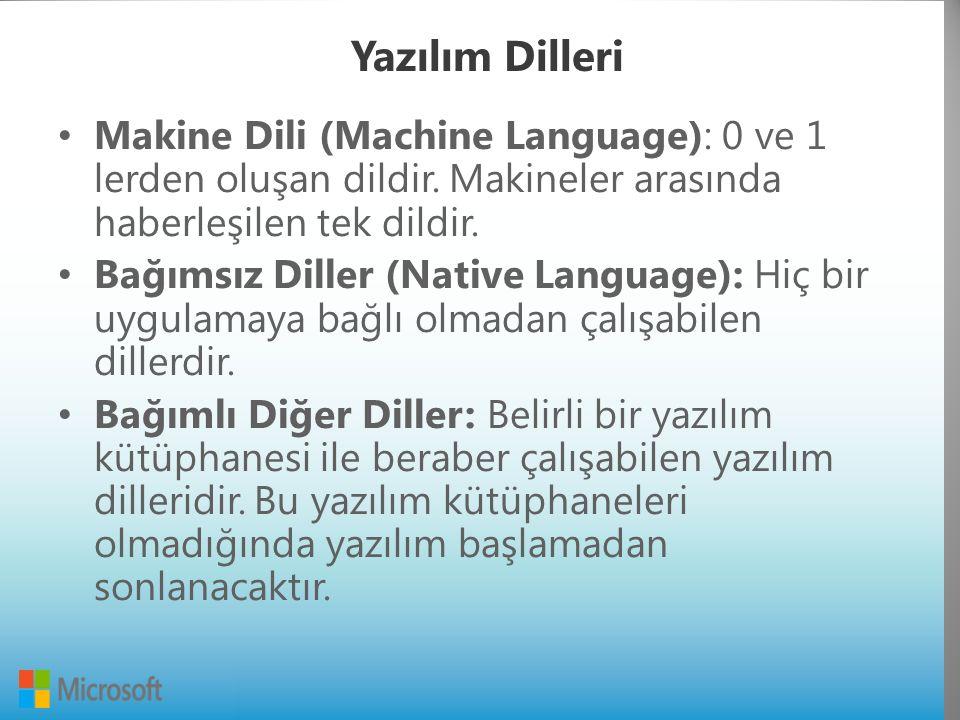 Yazılım Dilleri Makine Dili (Machine Language): 0 ve 1 lerden oluşan dildir.