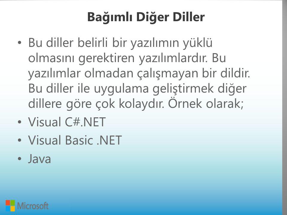 Bağımlı Diğer Diller Bu diller belirli bir yazılımın yüklü olmasını gerektiren yazılımlardır.