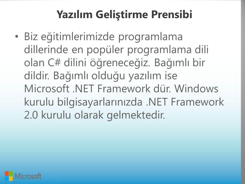 Yazılım Geliştirme Prensibi Biz eğitimlerimizde programlama dillerinde en popüler programlama dili olan C# dilini öğreneceğiz.