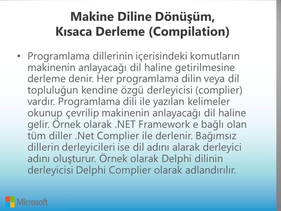 Makine Diline Dönüşüm, Kısaca Derleme (Compilation) Programlama dillerinin içerisindeki komutların makinenin anlayacağı dil haline getirilmesine derleme denir.