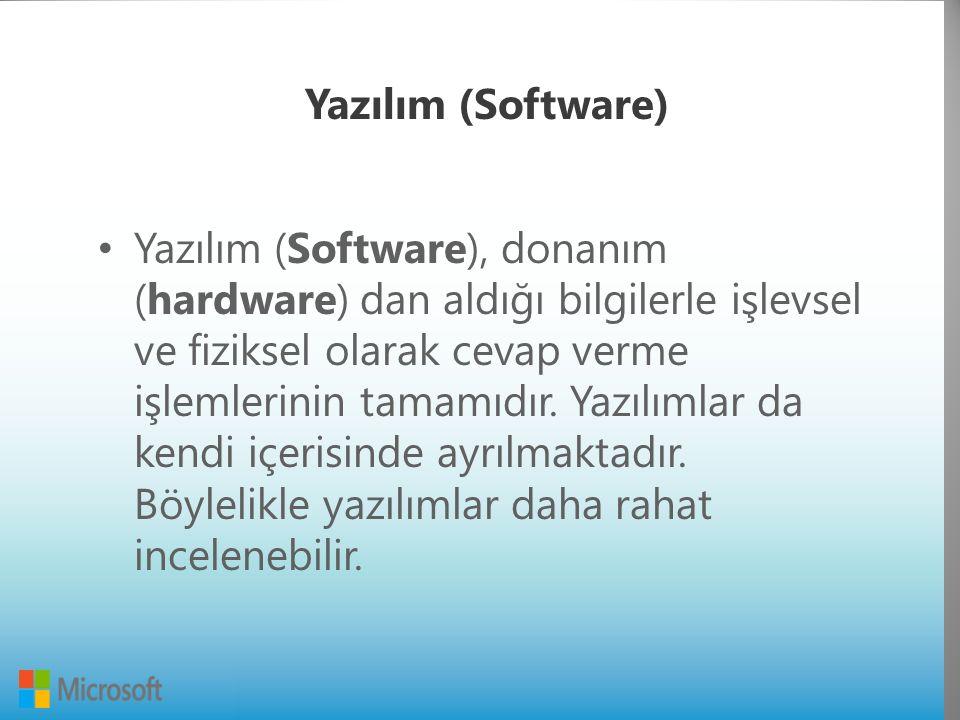Yazılım (Software) Yazılım (Software), donanım (hardware) dan aldığı bilgilerle işlevsel ve fiziksel olarak cevap verme işlemlerinin tamamıdır.