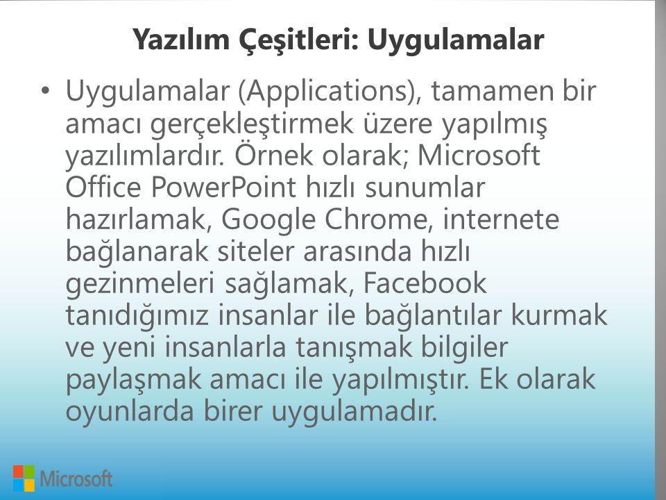 Yazılım Çeşitleri: Uygulamalar Uygulamalar (Applications), tamamen bir amacı gerçekleştirmek üzere yapılmış yazılımlardır.