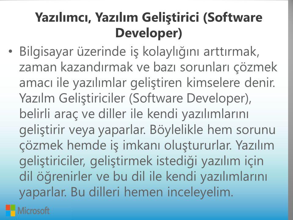 Yazılımcı, Yazılım Geliştirici (Software Developer) Bilgisayar üzerinde iş kolaylığını arttırmak, zaman kazandırmak ve bazı sorunları çözmek amacı ile yazılımlar geliştiren kimselere denir.
