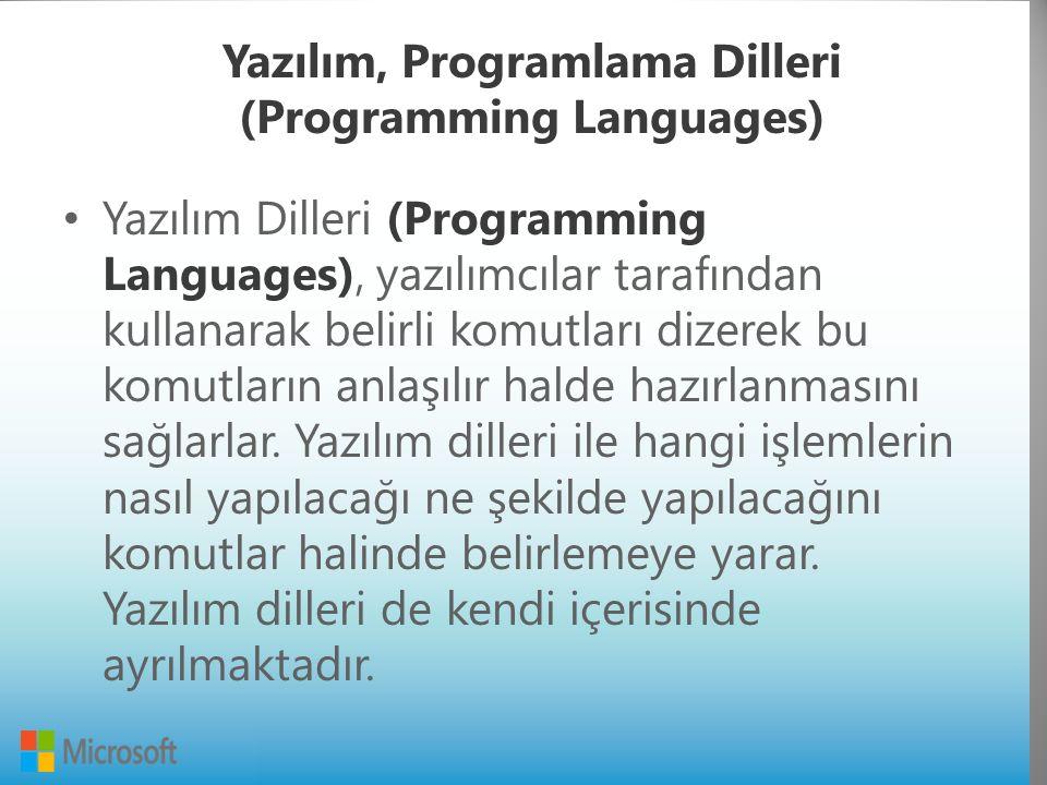 Yazılım, Programlama Dilleri (Programming Languages) Yazılım Dilleri (Programming Languages), yazılımcılar tarafından kullanarak belirli komutları dizerek bu komutların anlaşılır halde hazırlanmasını sağlarlar.