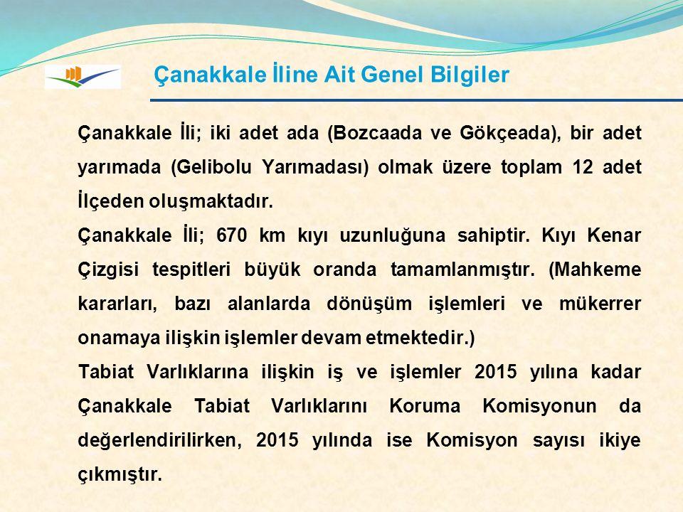 Çanakkale İli; iki adet ada (Bozcaada ve Gökçeada), bir adet yarımada (Gelibolu Yarımadası) olmak üzere toplam 12 adet İlçeden oluşmaktadır. Çanakkale