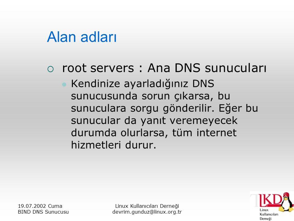19.07.2002 Cuma BIND DNS Sunucusu Linux Kullanıcıları Derneği devrim.gunduz@linux.org.tr Alan adları  root servers : Ana DNS sunucuları Kendinize ayarladığınız DNS sunucusunda sorun çıkarsa, bu sunuculara sorgu gönderilir.