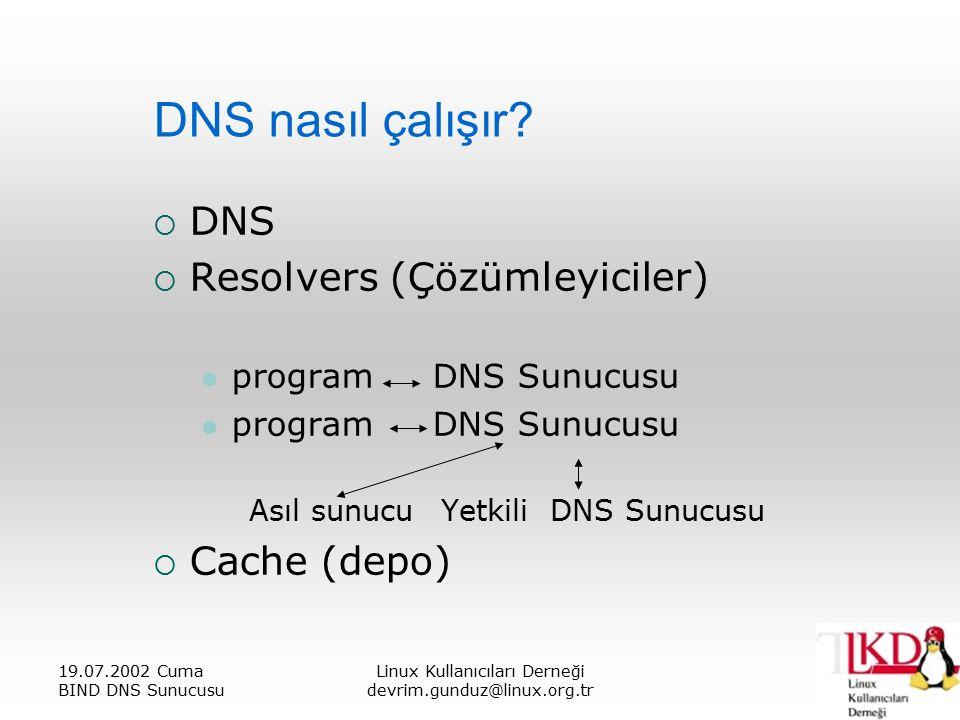 19.07.2002 Cuma BIND DNS Sunucusu Linux Kullanıcıları Derneği devrim.gunduz@linux.org.tr DNS nasıl çalışır.